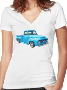 Classic 1955 F100 Ford Pickup Truck Women's Fitted V-Neck T-Shirt