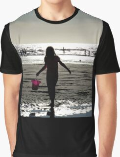 Girl Beach Sunset Silhouette Graphic T-Shirt