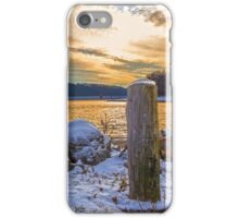 Snowy Lake With A Beautiful Sunset iPhone Case/Skin