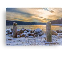 Snowy Lake With A Beautiful Sunset Metal Print