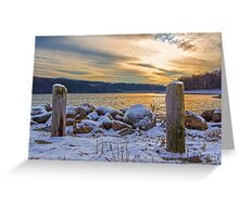 Snowy Lake With A Beautiful Sunset Greeting Card