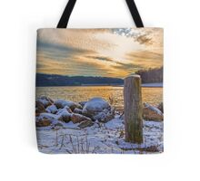 Snowy Lake With A Beautiful Sunset Tote Bag