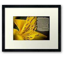 Yellow Flower Macro with Poem by Omar Khayyam Framed Print