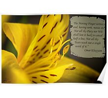 Yellow Flower Macro with Poem by Omar Khayyam Poster