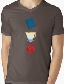 Books, Cups, and Roses Mens V-Neck T-Shirt