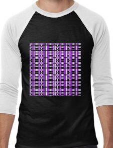 Plaid in Purple, Black & Gray Men's Baseball ¾ T-Shirt