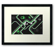 Graphic Linework Illustration - Green Framed Print