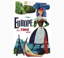 """TWA"" Fly to Europe Travel Print One Piece - Long Sleeve"