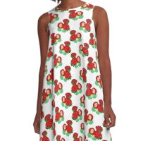 Strawberries and Blossoms Pattern A-Line Dress