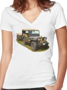 Willys World War Two Army Jeep Women's Fitted V-Neck T-Shirt