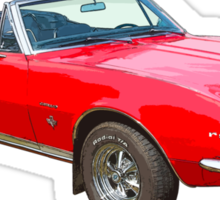 1967 Convertible Red Camaro Muscle Car Sticker