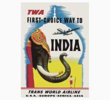 """TWA"" Fly to India Travel Print Kids Tee"
