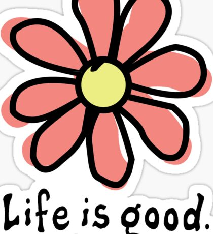 Life is Good Red Flower Sticker