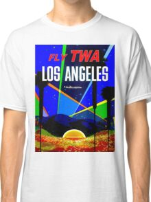 """TWA"" Fly to Los Angeles Travel Print Classic T-Shirt"