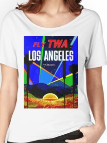 """TWA"" Fly to Los Angeles Travel Print Women's Relaxed Fit T-Shirt"