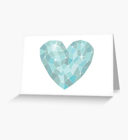 Frozen heart in Abstract triangles - polygons style Greeting Card