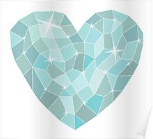 Frozen heart in Abstract triangles - polygons style Poster