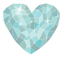 Frozen heart in Abstract triangles - polygons style Photographic Print