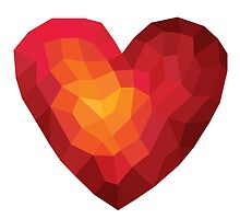 Fiery heart in abstract triangles - polygons style by Tatiakost