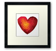 Fiery heart in abstract triangles - polygons style Framed Print