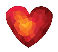 Fiery heart in abstract triangles - polygons style Photographic Print