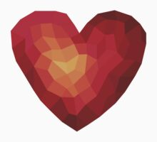 Fiery heart in abstract triangles - polygons style Baby Tee