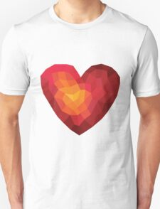 Fiery heart in abstract triangles - polygons style T-Shirt