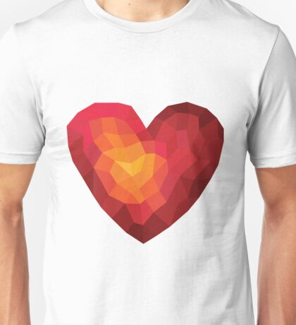 Fiery heart in abstract triangles - polygons style Unisex T-Shirt