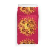 Yellow Daisy on Red Duvet Cover