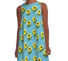 Bright Yellow Sunflowers Blue Polka Dots Summer Pattern A-Line Dress