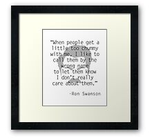 Ron Swanson: Friendship Framed Print