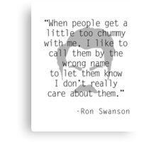 Ron Swanson: Friendship Canvas Print