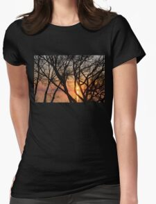 Sunrise Through the Chaos of Tree Branches Womens Fitted T-Shirt