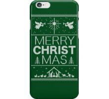 Ugly Christmas Sweater - Green Knit - Merry Christ Mas - Religious Christian - Jesus iPhone Case/Skin