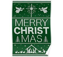 Ugly Christmas Sweater - Green Knit - Merry Christ Mas - Religious Christian - Jesus Poster