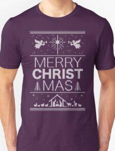 Ugly Christmas Sweater - Black Knit - Merry Christ Mas - Religious Christian - Jesus Unisex T-Shirt