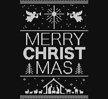 Ugly Christmas Sweater - Black Knit - Merry Christ Mas - Religious Christian - Jesus Unisex T-Shirt