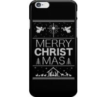 Ugly Christmas Sweater - Black Knit - Merry Christ Mas - Religious Christian - Jesus iPhone Case/Skin