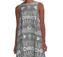 Ugly Christmas Sweater - Gray Knit - Merry Christ Mas - Religious Christian - Jesus A-Line Dress