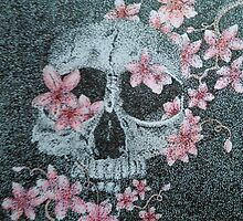Skull & Cherry Blossoms by DotInk