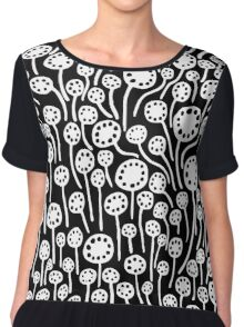 Abstract 090512 - White on Black Chiffon Top