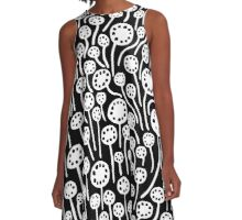 Abstract 090512 - White on Black A-Line Dress