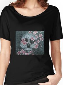 Skull & Cherry Blossoms Women's Relaxed Fit T-Shirt