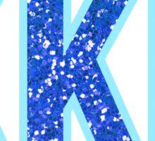 Kappa Kappa Gamma Blue Sparkle Letters Sticker