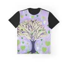 Raining Hearts Tree Design in Green n Deep Blue Graphic T-Shirt