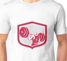 Weightlifter Lifting Barbell Shield Retro Unisex T-Shirt