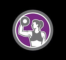 Woman Lifting Dumbbell Weight Retro by patrimonio