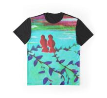 Red Lovebirds at Sunset Graphic T-Shirt