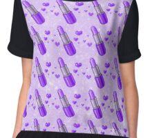 Sparkly Purple Lipstick Love Pattern Chiffon Top