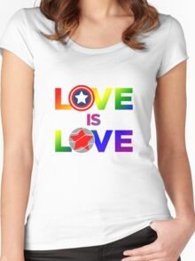 Love is Love - Rainbow & Metal Variant Women's Fitted Scoop T-Shirt